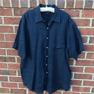 Brooks Brothers Blue Irish Linen Shirt Button Down